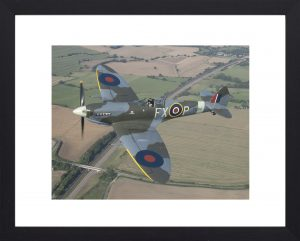 Spitfire over Kent aviation print in black frame. Aviation photos, aviation prints from Kent, United Kingdom