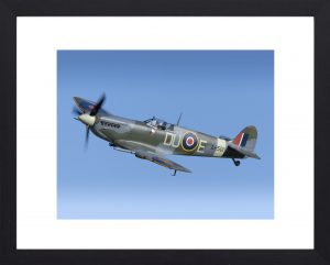Spitfire MK.V. aviation print in black frame, spitfire photography, aviation photography for sale at Toshotfoto.com