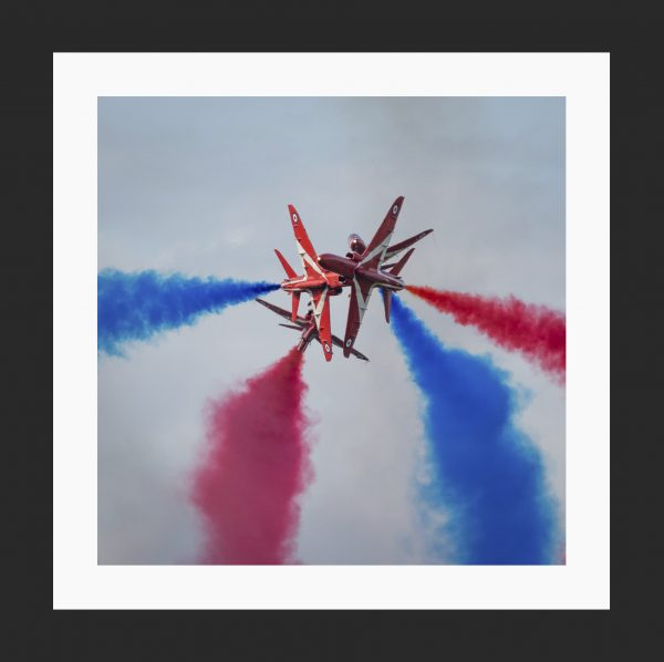 Red Arrows Head on sviation prints in black frame, aviation photography for sale, aircraft photos online at Topshotfoto.com.