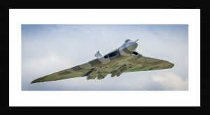 Vulcan panoramic aircraft print in black frame. Buy aviation photography, aircraft prints online.