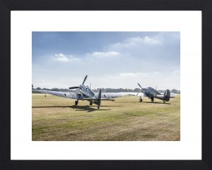 Spitfire and Hurricane at dawn aviation print in black frame, aviation top photos, vintage airplane prints to buy at Topshotfoto.com