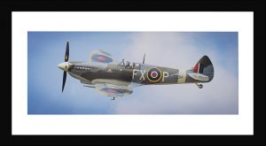 Spitfire MK9 panoramic aviation print in black frame. Buy aviation photos, aircraft photos online at Topshotfoto.com.